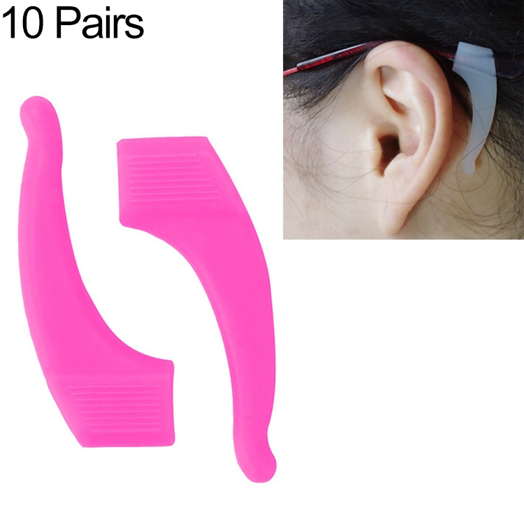 10 Pairs Glasses Non-slip Cover Ear Support Glasses Foot Silicone Non-slip Sleeve (Rose Red)