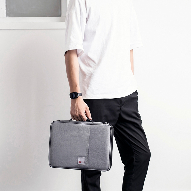 Multi-functional A4 Document Bags Portable Waterproof Oxford Cloth Storage Bag for Notebooks, Size: 33cm*24*3.5cm (Light Gray)