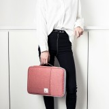 Multi-functional A4 Document Bags Portable Waterproof Oxford Cloth Storage Bag for Notebooks, Size: 33cm*24*3.5cm (Pink)