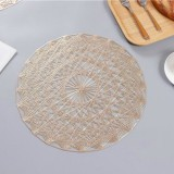 2 PCS Round PVC Insulated Placemat Creative Hollow Household Table Decoration, Size: 38cm (Gold)