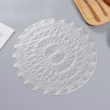 2 PCS Round PVC Insulated Placemat Creative Hollow Household Table Decoration, Size: 38cm (Silver)