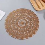 2 PCS Round PVC Insulated Placemat Creative Hollow Household Table Decoration, Size: 38cm (Bronze)