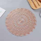2 PCS Round PVC Insulated Placemat Creative Hollow Household Table Decoration, Size: 38cm (Rose Gold)