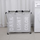 Collapsible Three Grid Dirty Clothes Laundry Hamper Organizer Home Storage Basket (Beige)