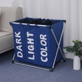 Collapsible Three Grid Dirty Clothes Laundry Hamper Organizer Home Storage Basket (Blue)