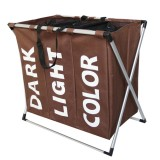 Collapsible Three Grid Dirty Clothes Laundry Hamper Organizer Home Storage Basket (Coffee)