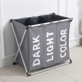 Collapsible Three Grid Dirty Clothes Laundry Hamper Organizer Home Storage Basket (Gray)