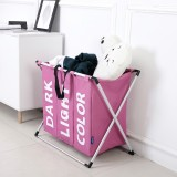 Collapsible Three Grid Dirty Clothes Laundry Hamper Organizer Home Storage Basket (Pink)