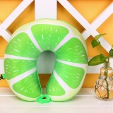 Fruit U Shaped Travel Pillow Nanoparticles Neck Pillow Car Pillows Soft Cushion Home Textile (Lime)