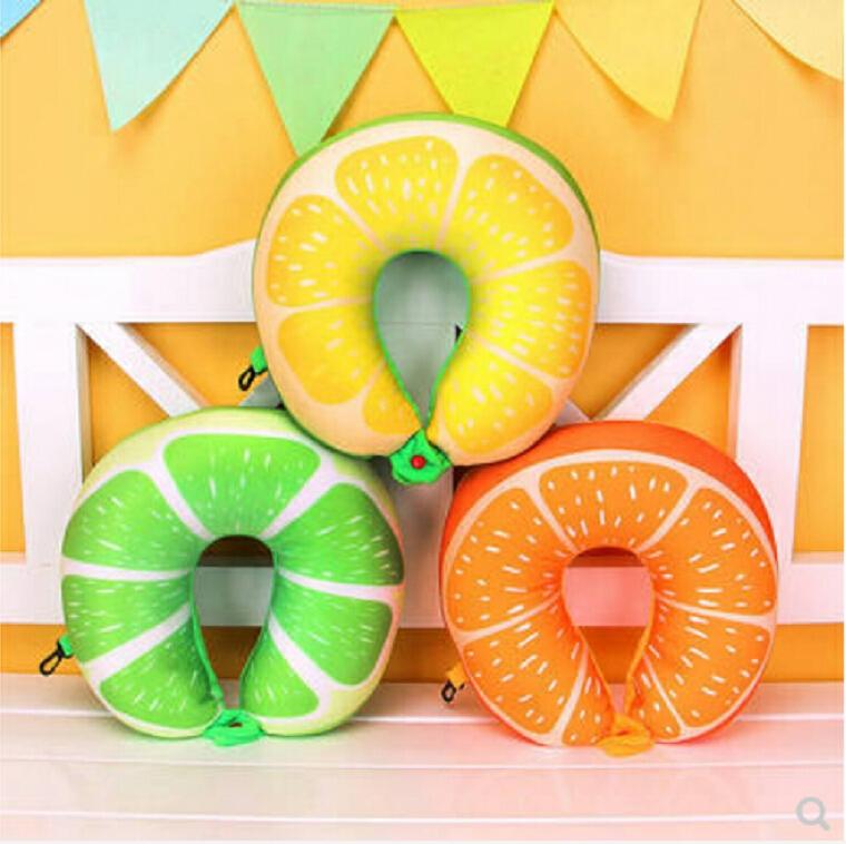 Fruit U Shaped Travel Pillow Nanoparticles Neck Pillow Car Pillows Soft Cushion Home Textile (Lime)