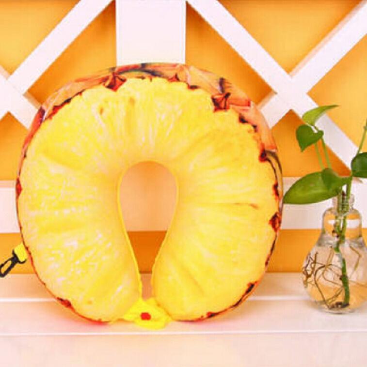 Fruit U Shaped Travel Pillow Nanoparticles Neck Pillow Car Pillows Soft Cushion Home Textile (Pineapple)