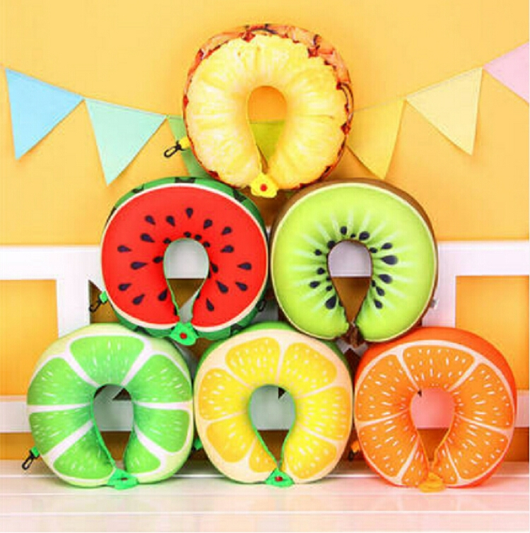 Fruit U Shaped Travel Pillow Nanoparticles Neck Pillow Car Pillows Soft Cushion Home Textile (Lemon)