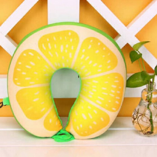 Fruit U Shaped Travel Pillow Nanoparticles Neck Pillow Car Pillows Soft Cushion Home Textile (Watermelon)