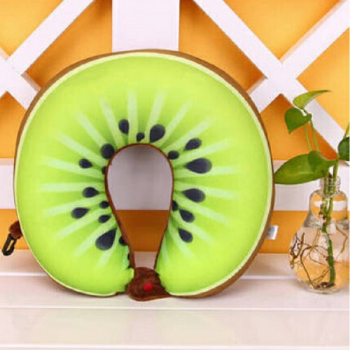 Fruit U Shaped Travel Pillow Nanoparticles Neck Pillow Car Pillows Soft Cushion Home Textile (Kiwi)