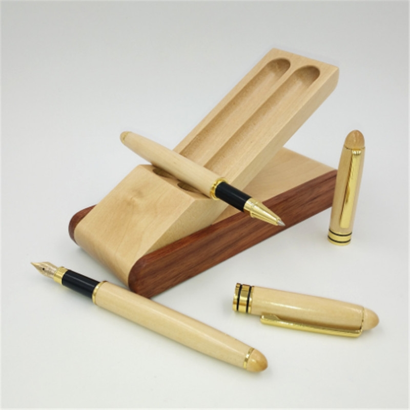 Creative Maple Pen Set with Wooden Pen Box Student Stationery Office Gifts, Style: Fountain Pen+Signing Pen+Pen Box