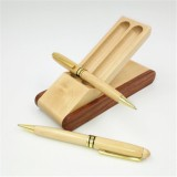 Creative Maple Pen Set with Wooden Pen Box Student Stationery Office Gifts, Style: 2PCS Ballpoint Pen+Pen Box