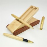 Creative Maple Pen Set with Wooden Pen Box Student Stationery Office Gifts, Style: Signing Pen+Ballpoint Pen+Pen Box