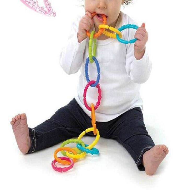 6 PCS Baby Rainbow Circle Link Molar Teeth Ring Grab Ring Baby Bed Hanging Color Ring Toy (Six-ring Rainbow Circle)