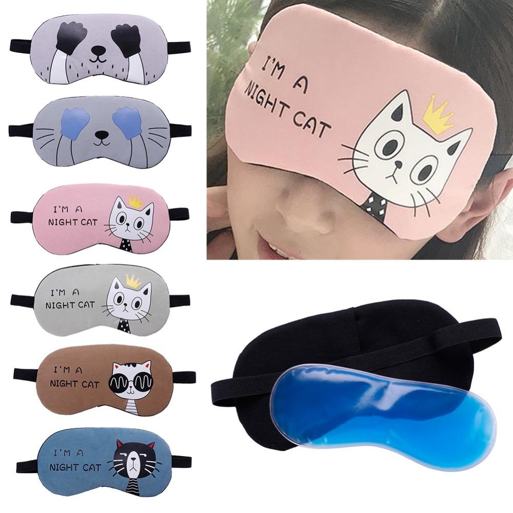 3 PCS Cartoon Eye Mask Soft Padded Sleep Travel Shade Cover Rest Relax Eye Sleeping Mask Case (Blue Hand)