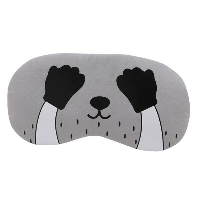3 PCS Cartoon Eye Mask Soft Padded Sleep Travel Shade Cover Rest Relax Eye Sleeping Mask Case (Black Hand)