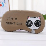 3 PCS Cartoon Eye Mask Soft Padded Sleep Travel Shade Cover Rest Relax Eye Sleeping Mask Case (Coffee Cat)