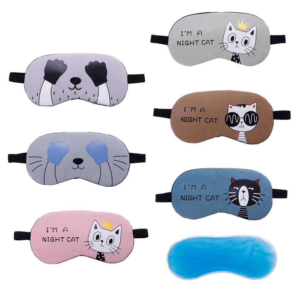 3 PCS Cartoon Eye Mask Soft Padded Sleep Travel Shade Cover Rest Relax Eye Sleeping Mask Case (Coffee Cat)