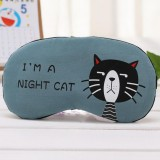 3 PCS Cartoon Eye Mask Soft Padded Sleep Travel Shade Cover Rest Relax Eye Sleeping Mask Case (Blue Cat)