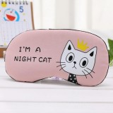 3 PCS Cartoon Eye Mask Soft Padded Sleep Travel Shade Cover Rest Relax Eye Sleeping Mask Case (Pink Cat)