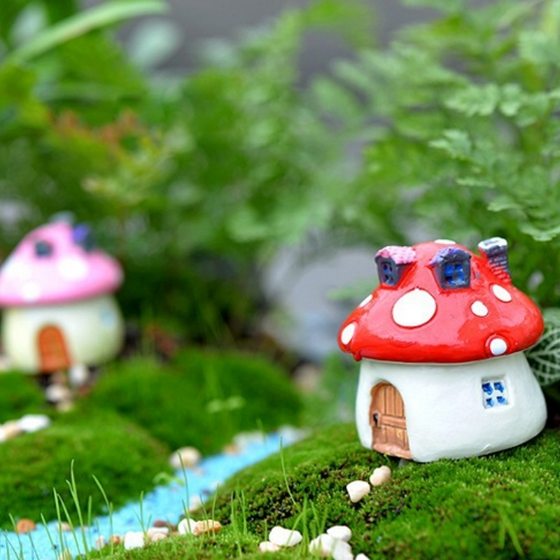 4 PCS / Set Micro-landscape Ornaments Mini Mushroom Small House Landscaping Ornaments