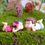 2 PCS Couple Cartoon Characters Dolls Micro Landscape Ornaments Bonsai Decoration Random Color Delivery, Style: Hug Face Couple