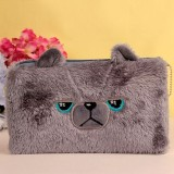 Plush Student Children Birthday Gift Makeup Change Stationery Pencil Bag (Grizzly Bear)