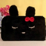 Plush Student Children Birthday Gift Makeup Change Stationery Pencil Bag (Closed Eyes Black Rabbit)