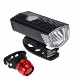 Bicycle Highlight USB Rechargeable Lamp Waterproof Bicycle Headlight Taillight Set (Headlight + Taillight)