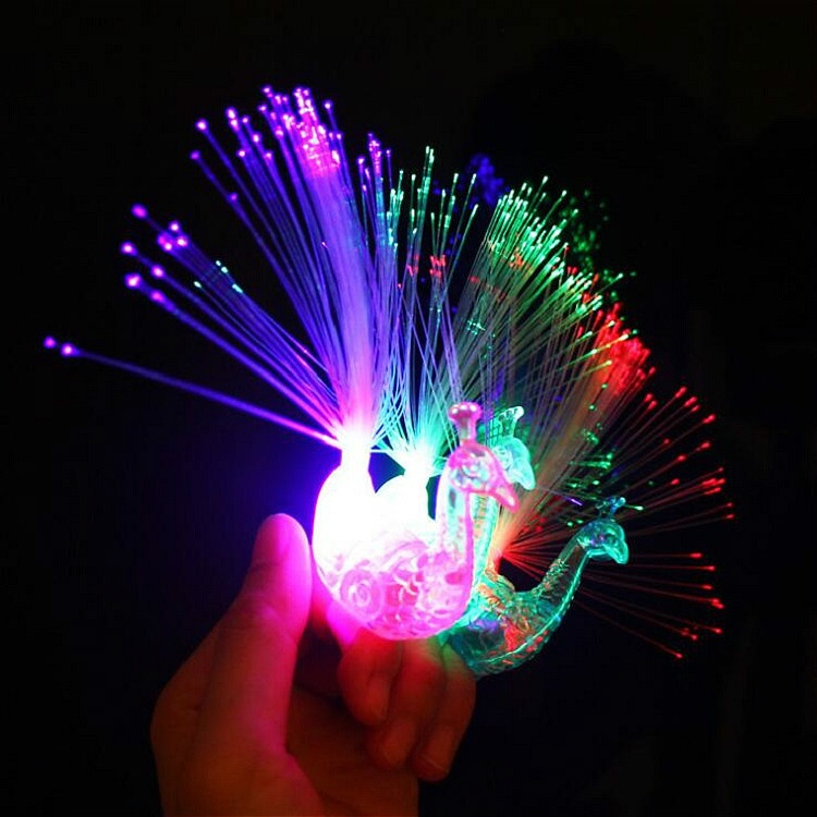 10 PCS Colorful Fluorescent Peacock Finger Lights Party Gadgets Children Entertainment Toys (Blue Green White Red Random Delivery)