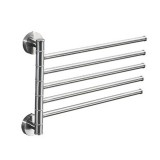 Stainless Steel Towel Bar Rotating Towel Rack Bathroom Kitchen Wall-mounted Towel Polished Rack Holder, Model: Brushed Five Poles
