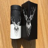Deer Pattern Insulated Thermos Vacuum Bottle Stainless Steel Thermos Cup Thermal bottle with Tea Strainer, Capacity: 350m with Gift box