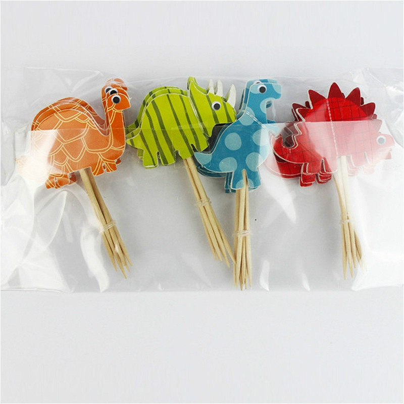 10 Packs Selling Cartoon Creative Dinosaur Cake Decoration Card Insertion Card Birthday Holiday Party Supplies, Style: As Show
