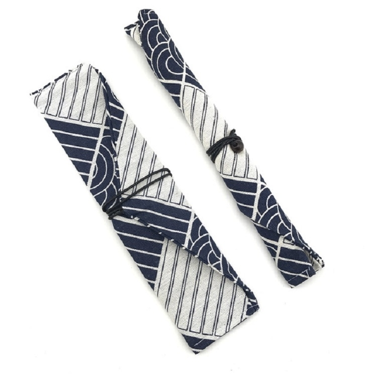 Cotton Linen Tableware Straw Bag Portable Beam Mouth Bag for Traveling, Style: Side Opening Geometry