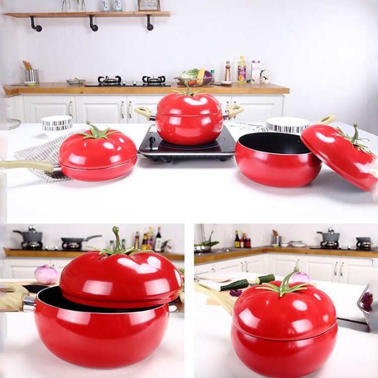 Creative Cute Tomato Shaped Pot Complementary Food Non-stick Frying Pan Cooker Universal, Style: Milk Pan