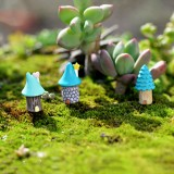 2 PCS Cartoon Tree House Moss Micro-landscape Fleshy Ornaments Jewelry, Random Style Delivery