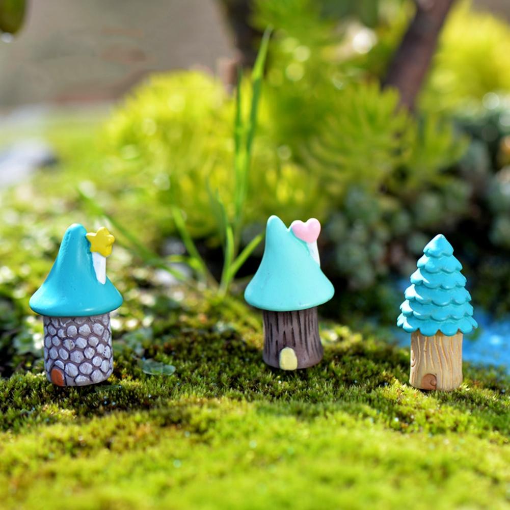 2 PCS Cartoon Tree House Moss Micro-landscape Fleshy Ornaments Jewelry, Random Style Delivery