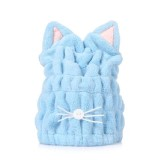 Coral Fleece Soft Absorbent Cat Ear Dry Hair Cap Thickened Adult Shower Cap (Blue)