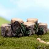 3 PCS Handmade Sand Table Model Micro Landscape Decorative Wood Pile Wooden Pier Stump Ornaments, Random Color Delivery, Style: Five Stumps Bridge