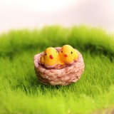 3 PCS Mini Bird Nest and Birds Meaty Small Ornaments Micro Landscape Accessories