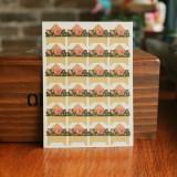 2 PCS Retro Flower Phase Corner Stickers Kraft Paper Corner Stickers (Safflower Green)