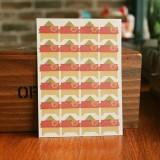 2 PCS Retro Flower Phase Corner Stickers Kraft Paper Corner Stickers (Safflower Red Bottom)