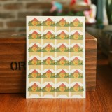 2 PCS Retro Flower Phase Corner Stickers Kraft Paper Corner Stickers (Yellow Flower Green Bottom)