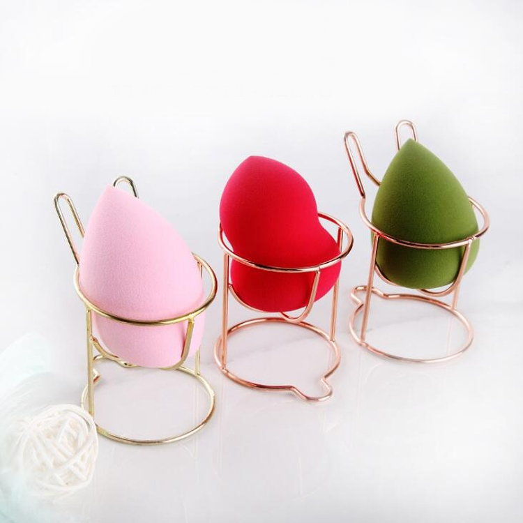 5 PCS Beauty Egg Shelf Storage Box Rack Puff Makeup Sponge Egg Dustproof Bracket, Model: 3-circles Round (Rose Gold)