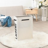 Drawstring Style Laundry Hamper PU Bottom Oxford Cloth Dirty Clothes Storage Bag Small Foldable Laundry Basket (Beige)