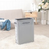 Drawstring Style Laundry Hamper PU Bottom Oxford Cloth Dirty Clothes Storage Bag Small Foldable Laundry Basket (Light Gray)